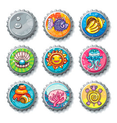 Set of metallic bottle caps summer drawings vector