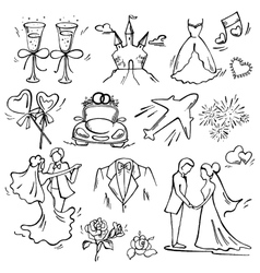Set of wedding icon vector