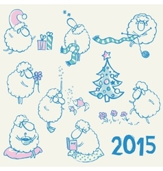 set sheeps vector image