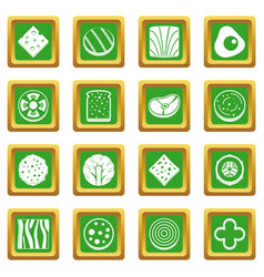 Slice food ingredient icons set green vector
