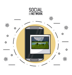social network on smartphone vector image
