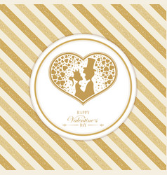 Striped ocher gold color design with a silhouette vector
