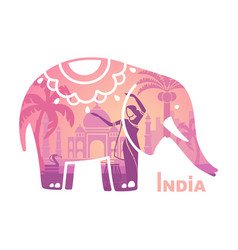 stylized silhouette of the indian elephant with vector image