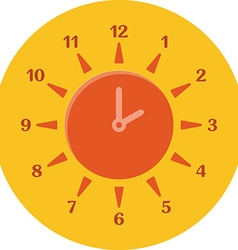 Summer time concept Combined clock and sun Flat vector