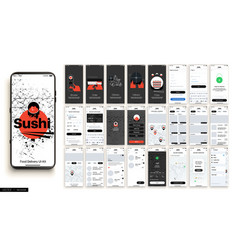 sushi delivery design mobile application ui ux set vector image