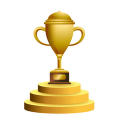 trophy cup on podium symbol vector image