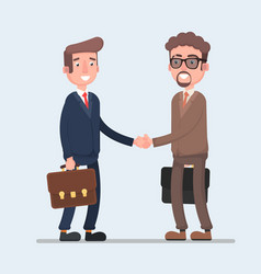 Two smiling businessmen shaking hands together vector