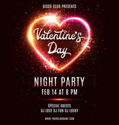 valentines day party poster disco music dance vector image