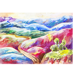 watercolor multi-colored mountains bright vector image