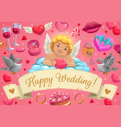 wedding rings cupid and love hearts on cloud vector image