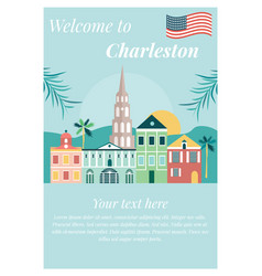 Welcome to charleston poster with landmarks vector