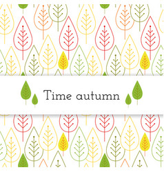 white paper stripe banner on autumn leaves vector image