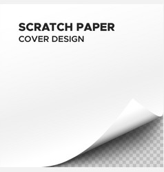 White scratch paper sheet with curl on corner vector