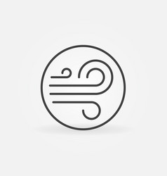 Wind outline concept round simple icon vector