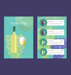 Wine map pages templates with bottle on cover vector