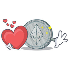 With heart ethereum coin character cartoon vector