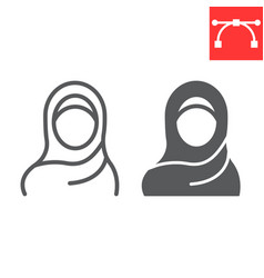 Woman wearing hijab line and glyph icon arab girl vector