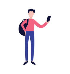 young man with backpack and smartphone looking for vector image