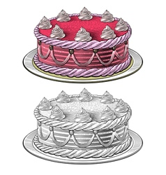 Birthday cake in engraving style vector image vector image