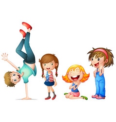 children characters on white background vector image