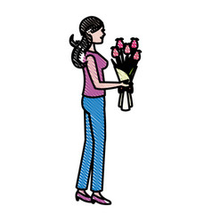 drawing mother woman flower bouquet celebration vector image vector image