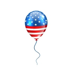 Flying Balloon in American Flag Colors vector image vector image