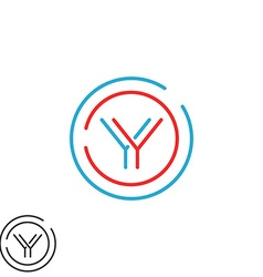 Modern graphic Y logo letter monogram thin line vector image