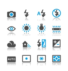 Photography icons reflection vector image