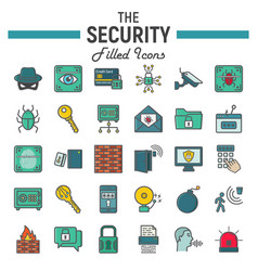 security colorful line icon set cyber protection vector image vector image