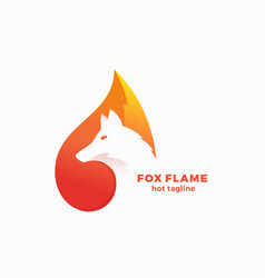 fox flame abstract symbol sign or logo vector image