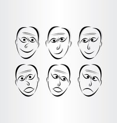 men faces emotions symbols vector image