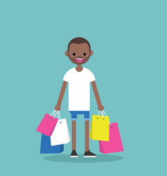 young black man holding shopping bags flat vector image