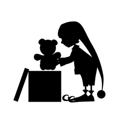 Christamas cute elf silhouette with gift vector image
