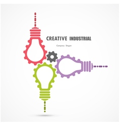 Creative light bulb and gear abstract sign vector image