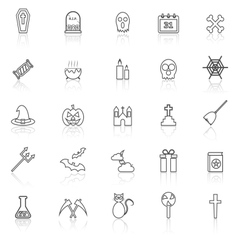 Halloween line icons with reflect on white vector image
