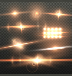 Lens flare effect realistic sun flare energy beam vector