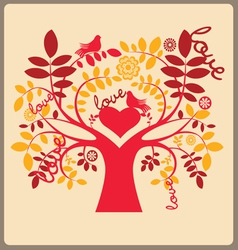 Love autumn tree and red doves vector image