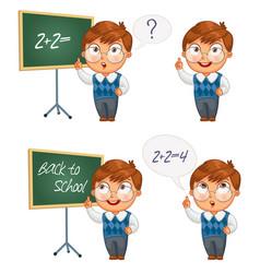 schoolboy writing on the chalkboard vector image vector image