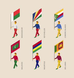 set of isometric 3d people with flags vector image
