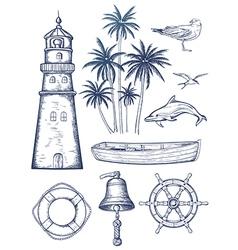 Vintage nautical set vector image vector image