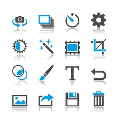 Photography icons reflection vector image vector image