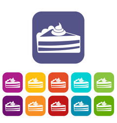 Piece of cake icons set vector