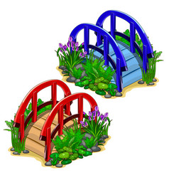 red and blue decorative bridges with plants vector image vector image