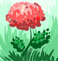 Red stylized peony on green background for your vector image vector image