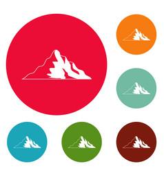 snow mountain icons circle set vector image