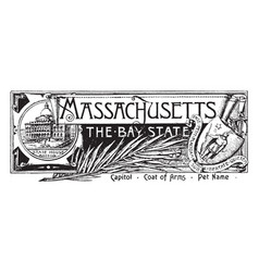 The state banner of massachusetts the bay state vector