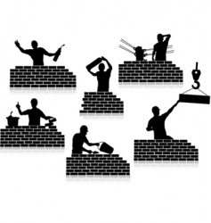 workers silhouettes close-up vector image