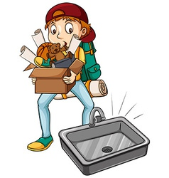 A boy carrying a box vector