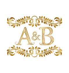 Ab vintage initials logo symbol vector
