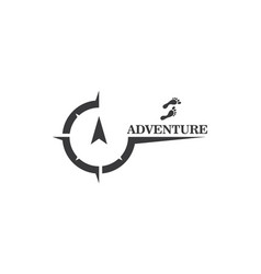 Adventure font with compass and foot icon logo vector